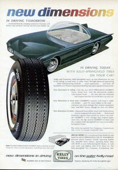 1965 Kelly Tire Print Ad-Futuristic Car Bubble Top Uni Steer