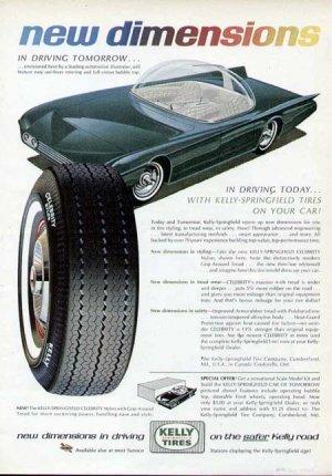 1965 Kelly Tire Print Ad-Futuristic Car Bubble Top Uni Steer