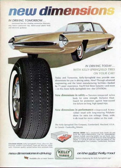 1965 Kelly Tire Print Ad-Futuristic Car Plastic Body Guidance