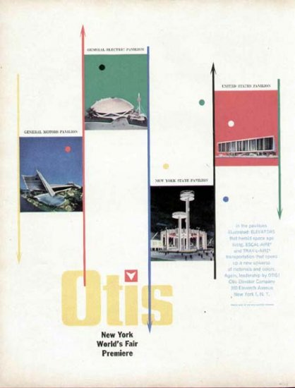 1963 Otis Elevator Print Ad-New York World's Fair Buildings