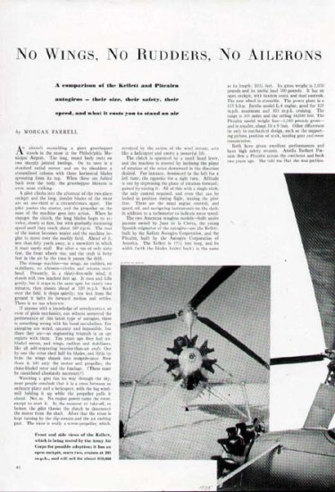 1935 Pitcairn Aircraft Airplane Print Article-Illustrated