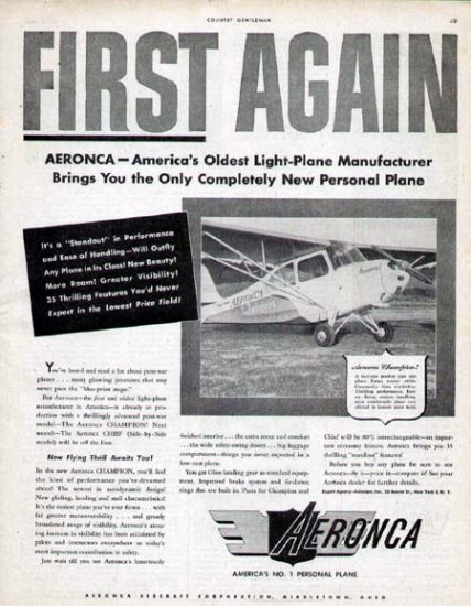 1946 Aeronca Aircraft Print Ad-Light Airplane Champion Chief