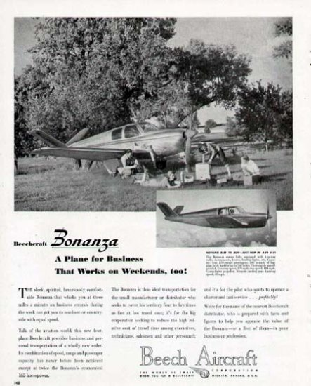 1946 Beech Aircraft Print Ad-Bonanza Model Airplane