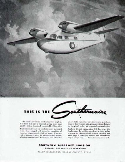 1946 Southern Aircraft Print Ad-Garland Texas Made Airplane
