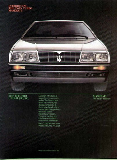 1984 Maserati Italian Sports Car Print Ad-Biturbo Model