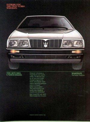 1984 Maserati Italian Sports Car Print Ad-Biturbo Model