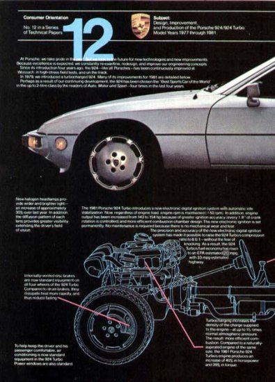 1981 Porsche 924 Turbo Vintage Sports Car Print Ad