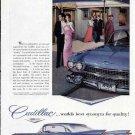 1959 Cadillac at Waldorf-Astoria Hotel Print Ad-Blue Fins
