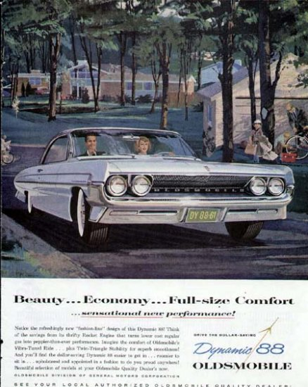 1961 Oldsmobile Dynamic 88 Vintage Car Print Ad-White