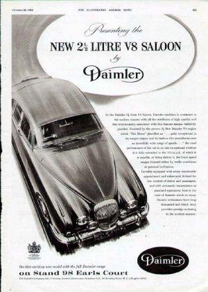 1962 Daimler 2 1/2 Litre V8 Saloon Vintage Car Print Ad
