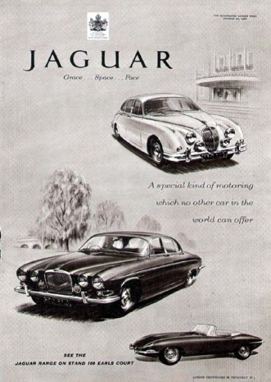 1962 Jaguar Vintage Car Print Ad-Convertible & Sedan