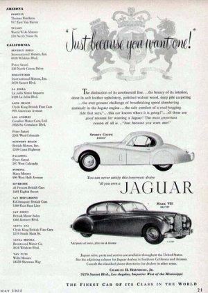 1952 Jaguar Sports Coupe & Mark VII Vintage Car Print Ad