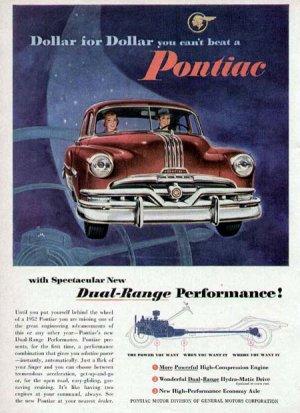 1952 Pontiac Vintage Car Print Ad-Red Color