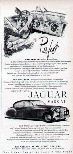 1952 Jaguar  Mark VII Vintage Car Print Ad-Shows Dash