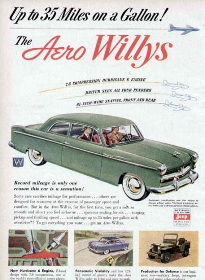 1952 Aero Willys Vintage Car Print Ad-Hurricane 6 Engine