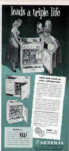 1952 General L-K Kitchen Stove Refrigerator  Combo Unit Print Ad