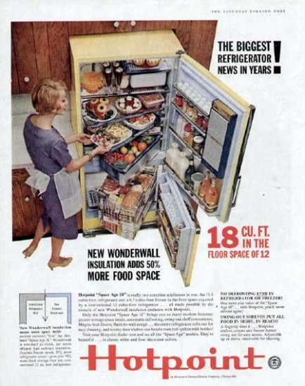 1960 Hotpoint Wonderwall Refrigerator Print Ad-Space Age 18