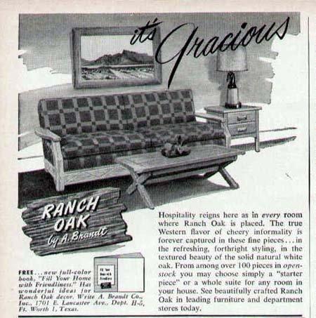 1952 Ranch Oak Furniture Print Ad-A. Brandt Design