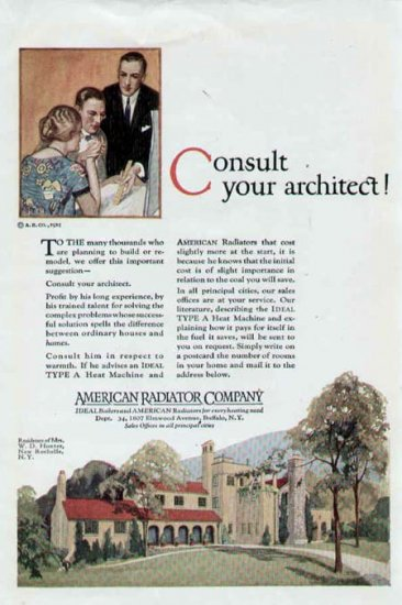 1925 American Radiator Ad-Home W. D. Hunter New Rochelle NY