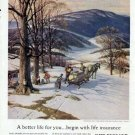 1959 New England Life Print Ad-Maple Sugar Syrup Making Winter