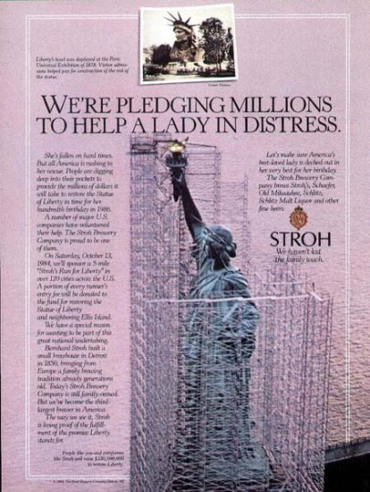 1984 Stroh Beer Print Ad-Help Restore Statue of Liberty