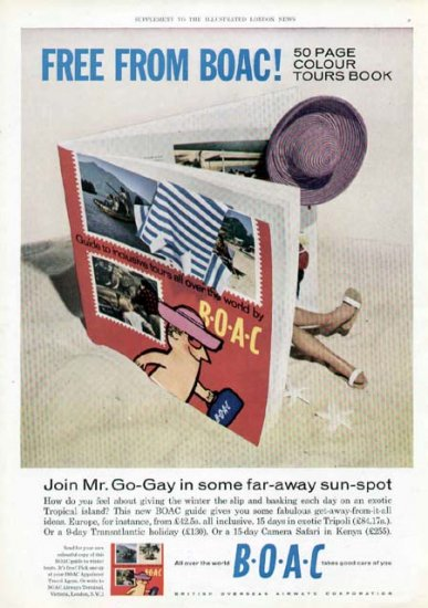 1962 BOAC Airways Vintage Print Ad-Join Mr Go Gay Travel
