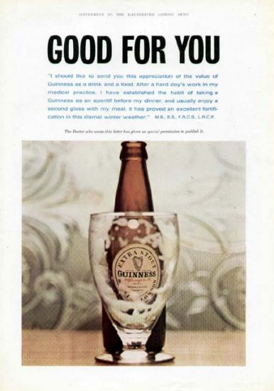 1963 Guinness Extra Stout Vintage Print Ad-Good For You