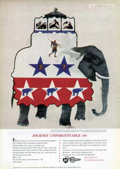 1963 British Petroleum Print Ad-Hannibal Elephant Art Peter Phillips
