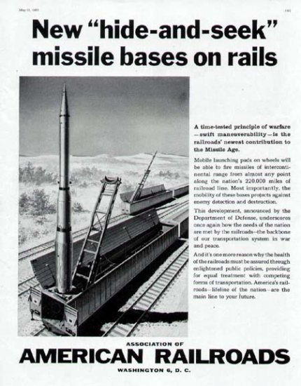 1960 American Railroad Print Ad-Missile Bases on Rails Space Rocket