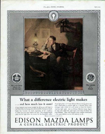 1925 Edison Mazda Lamps Vintage Print Ad-Boy Studies