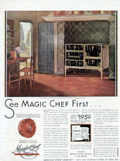 1920s Vintage Magic Chef Cook Stove Print Ad-Bungalow Living