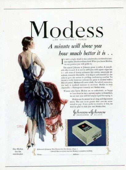 1928 Modess Feminine Sanitary Pad Vintage Print Ad-Art Deco Lady