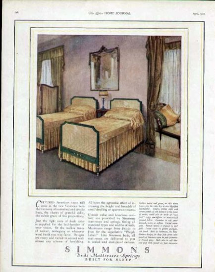 1923 Simmons Bedroom Furniture Print Ad-1920's Design