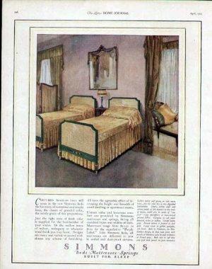 1923 Simmons Bedroom Furniture Print Ad-1920's Design