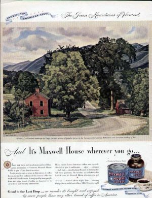 1946 Maxwell House Coffee Print Ad-Route 7 Vermont Art Lucioni