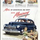 1947 Mercury Vintage Print Ad-Blue Color Fishing Theme