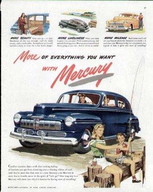 1947 Mercury Vintage Print Ad-Blue Color Fishing Theme