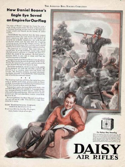 1932 Daisy Air Rifle Vintge Print Ad-Daniel Boone Saves the Day