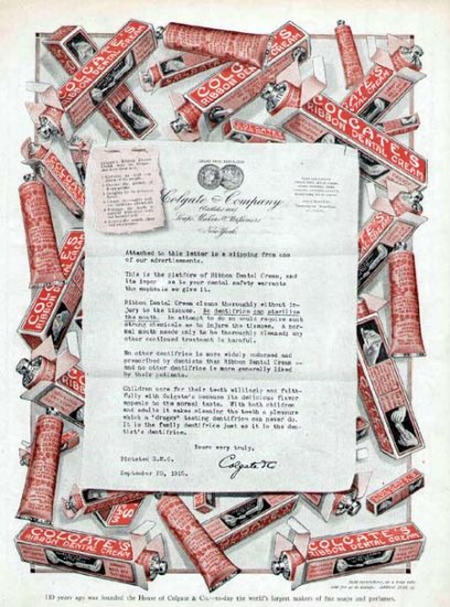 1915 Colgate Ribbon Dental Cream Toothpaste Vintage Print Ad