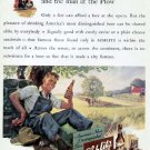 1941 Schlitz Beer Print Ad-Farming Plowing Wheat Field Farmer
