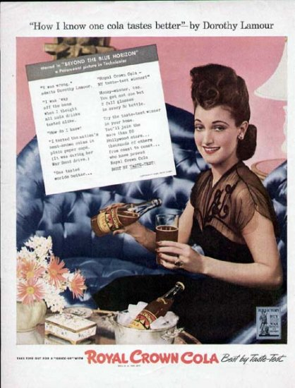 1943 Royal Crown Cola Vintage Print Ad-Dorothy Lamour