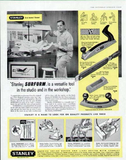 1959 Stanley Tool Print Ad-Stevan Dohanos Artist in the Workshop