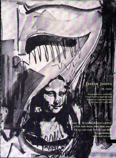 2001 Craig F. Starr Print Ad-Jasper Johns Art Artist Mona Lisa