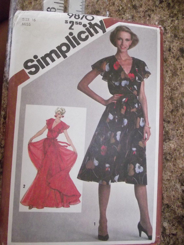 Vintage Simplicity pattern 9870 SZ 16 Uncut from 1980