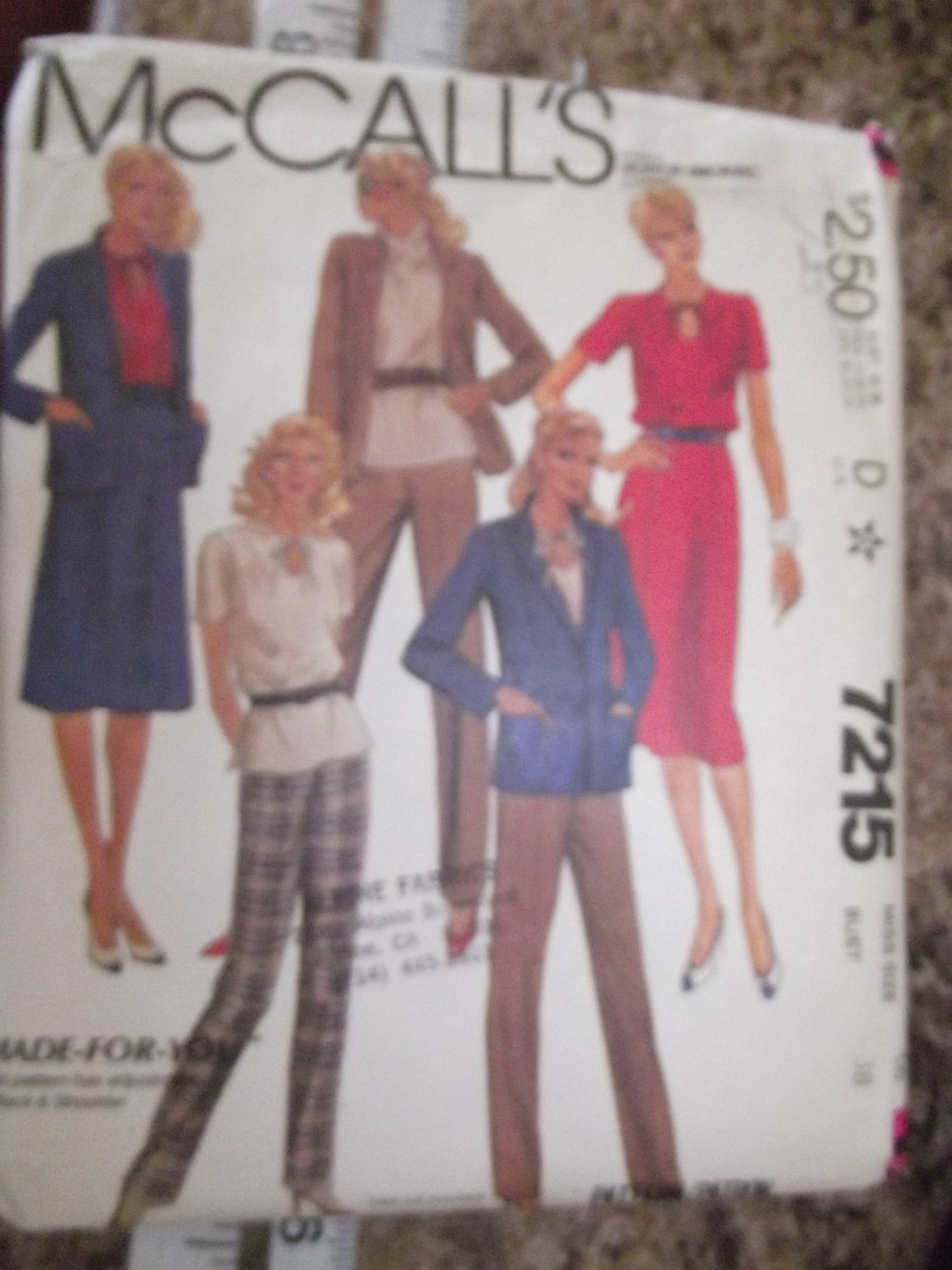 Vintage McCalls pattern 7215 size 16 from 1980
