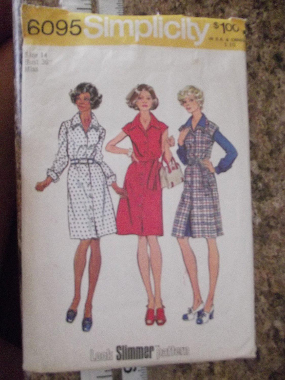 Vintage Simplicity Pattern 6095 Sz 14 1973