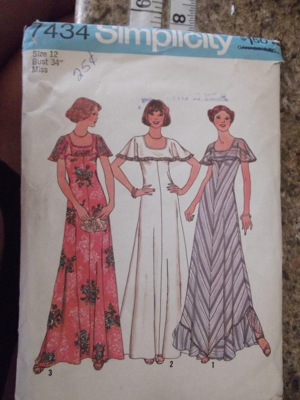 Vintage Simplicity Pattern 7434 Size 12 1976