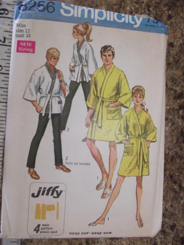 Vintage Simplicity 8256 Jiffy Kimono Robe Men's & Miss