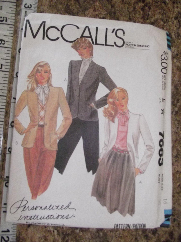 Vintage McCalls pattern 7663 1981 Uncut