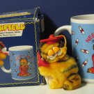 Garfield Graduate Ceramic Stein / Mug with Plush Clip On - Enesco 1981 Vintage